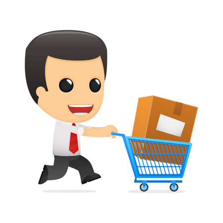 grappige cartoon manager in verschillende poses voor gebruik in reclame, presentaties, brochures, blogs, documenten en formulieren, enz.