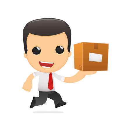 depository: funny cartoon manager in various poses for use in advertising, presentations, brochures, blogs, documents and forms, etc. Illustration