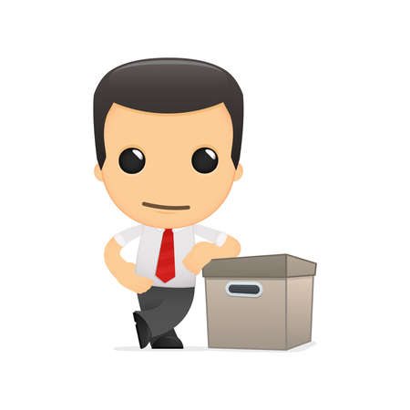 funny cartoon manager in vaus poses for use in advertising, presentations, brochures, blogs, documents and forms, etc. Stock Vector - 14074914