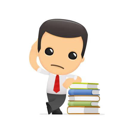 administrador de empresas: gerente de divertidos dibujos animados en varias poses para su uso en publicidad, presentaciones, folletos, blogs, documentos y formularios, etc