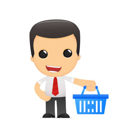 e store: funny cartoon manager Illustration