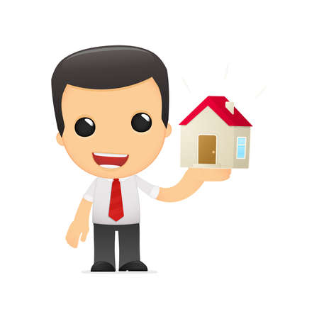 buy house: funny cartoon manager Illustration