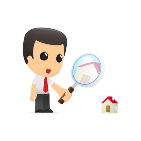 housing estate: funny cartoon manager Illustration