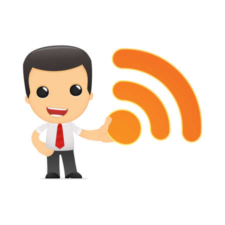 rss feed icon: funny cartoon manager Illustration
