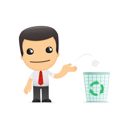 environmental suit: funny cartoon manager Illustration