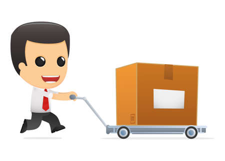 delivery package: funny cartoon manager Illustration