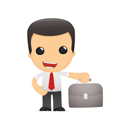 suit case: funny cartoon manager Illustration