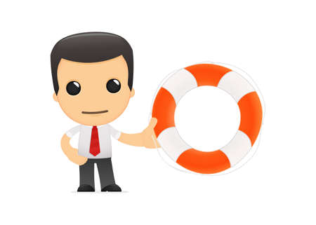 rescue signs: funny cartoon manager Illustration