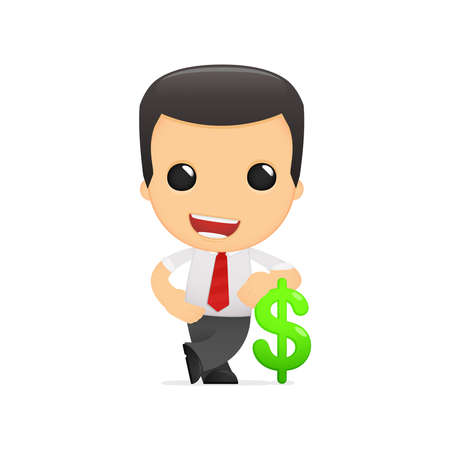a bank employee: funny cartoon manager Illustration