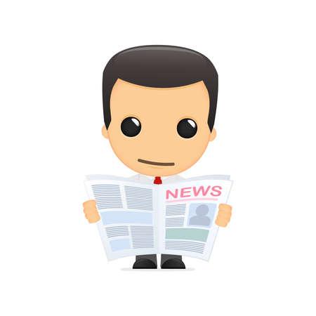 reading newspaper: funny cartoon manager Illustration