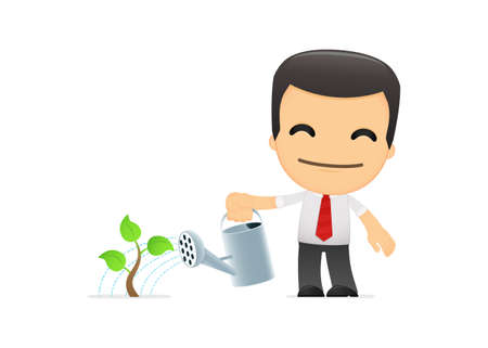 seedling growing: funny cartoon manager Illustration