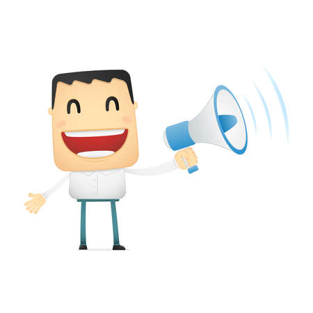loud speaker: funny cartoon casual man Illustration
