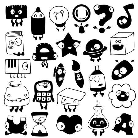 set of cartoon school objects silhouettes Vector