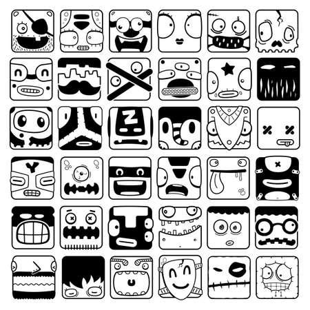 set of cartoon box face silhouettes Vector