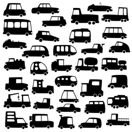 mode of transport: Conjunto de coches de dibujos animados siluetas