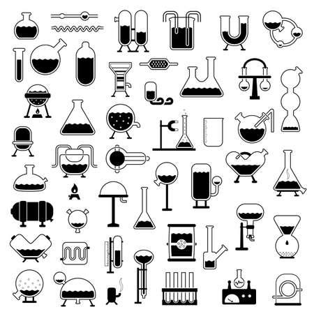 set of cartoon mechanisms silhouettes