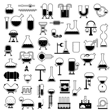 laboratory equipment: set of cartoon mechanisms silhouettes