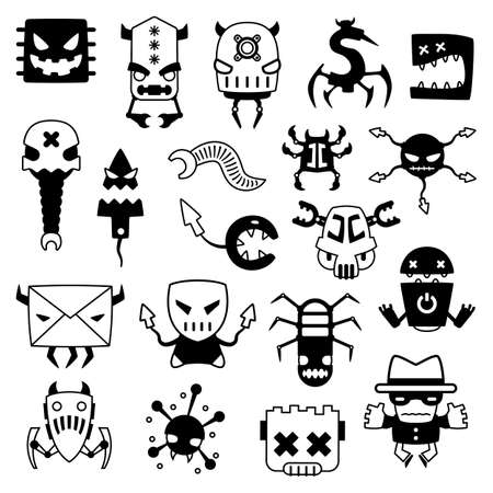 set of cartoon computer viruses silhouettes Vector