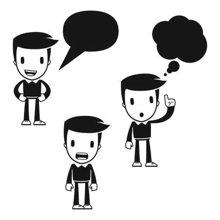 мысль: смешной человек вспомогательного мультфильмов Иллюстрация