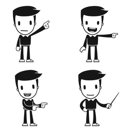 pointing finger pointing: funny cartoon helper man