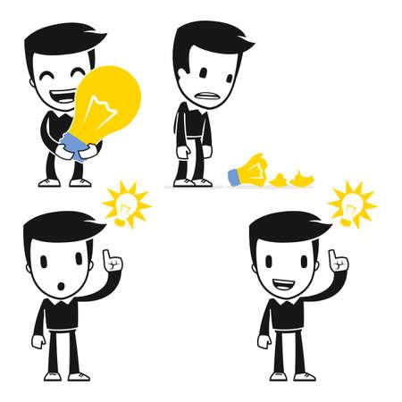 young man standing: funny cartoon helper man