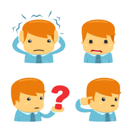 headache man: avatar cartoon manager Illustration