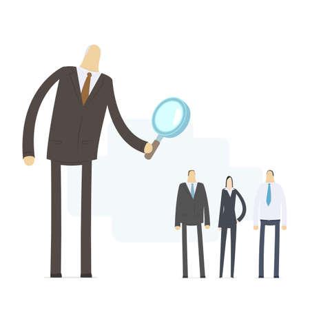 Boss chooses experienced staff Illustration