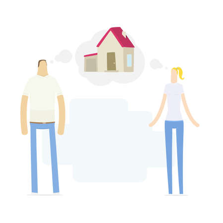 home protection: young couple dreaming to their house
