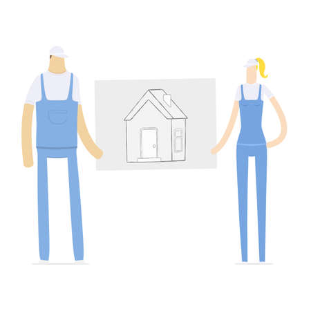family outside house: young couple holding a draft of its future home Illustration