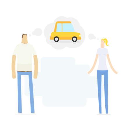 simbolo uomo donna: giovane coppia sogna di una macchina