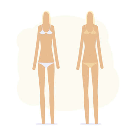 sunburnt girl in bikini and without Vector