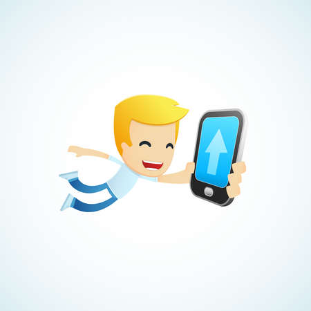 personal data assistant: set of illustrations with funny cartoon casual character in different situations Illustration