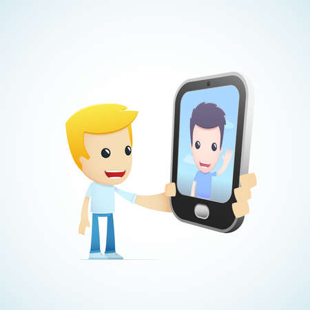 3g: set of illustrations with funny cartoon casual character in different situations Illustration