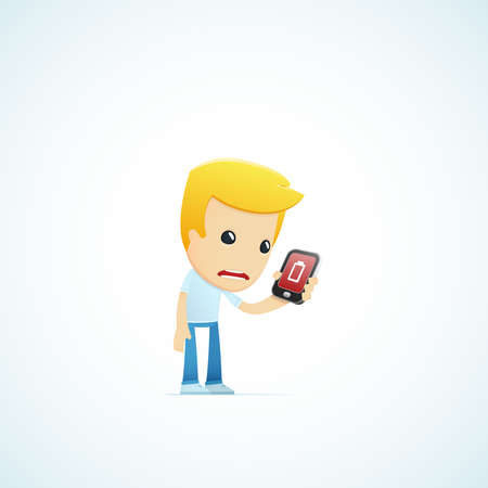 mobile cartoon: set of illustrations with funny cartoon casual character in different situations Illustration