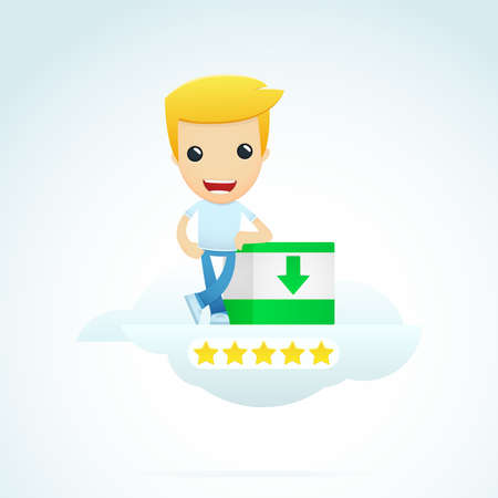 five star: set of illustrations with funny cartoon casual character in different situations Illustration