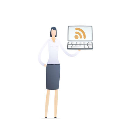 meta: young business woman using rss