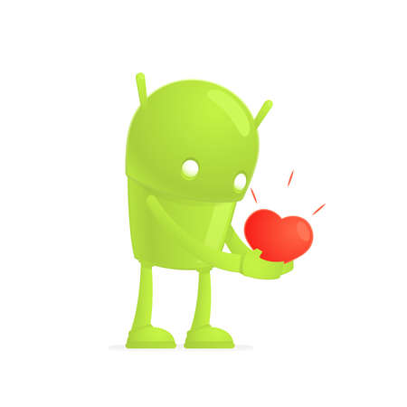 android robot: funny cartoon android