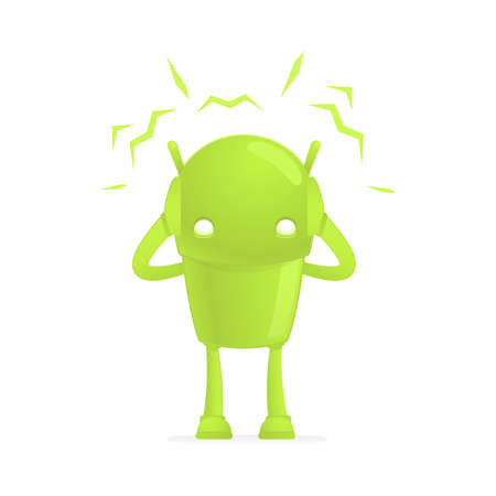 in trouble: funny cartoon android