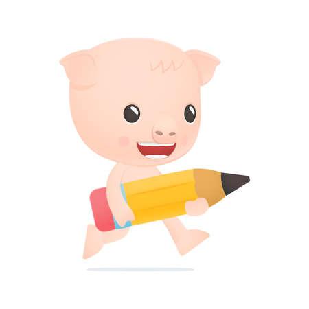 funny cartoon pig Stock Vector - 18009489