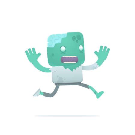 panicked: funny cartoon zombie