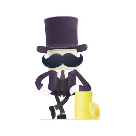 monopoly money: funny cartoon illusionist