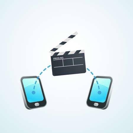 sparare: girare un film sul telefono Vettoriali