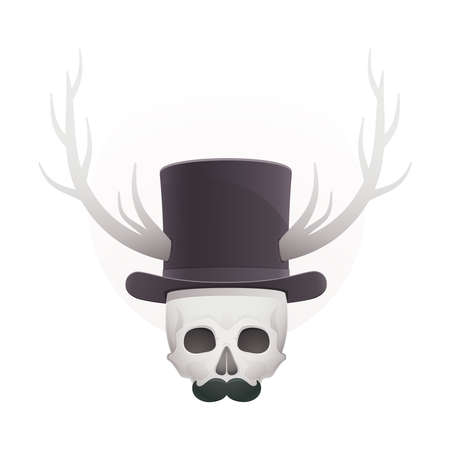 skull in with horns and a mustache Stock Vector - 18759204