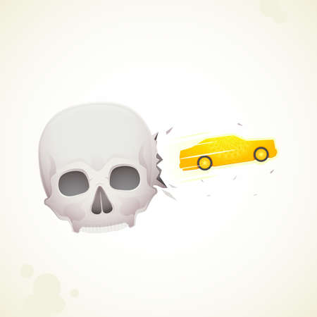 car crashes out of the skull Stock Vector - 18759340