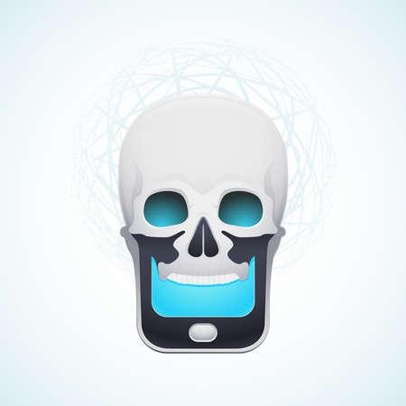 skull mobile phone Stock Vector - 18759207