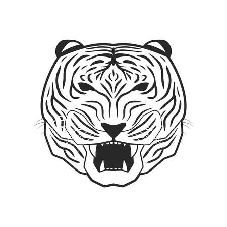 anger abstract: line art tiger