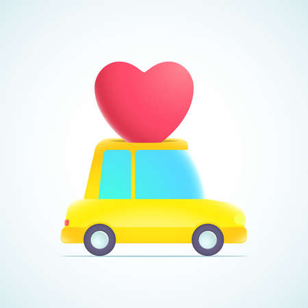 heart and car Vector