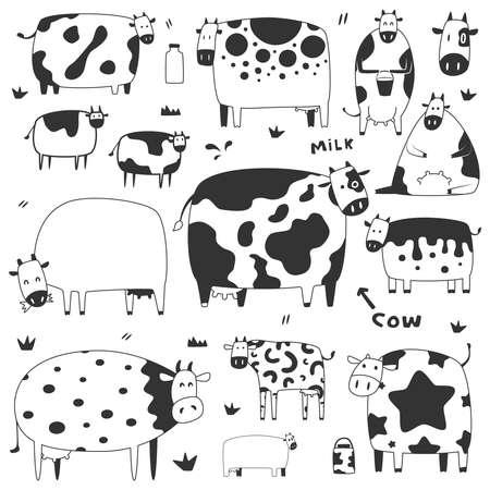 set di mucche divertenti