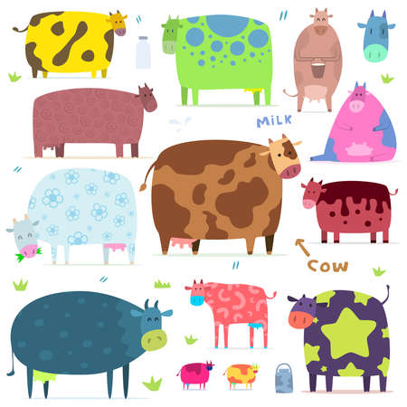 vaca caricatura: conjunto de vacas divertidas Vectores