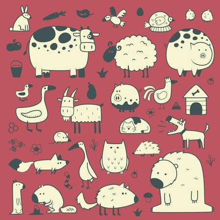 binnenlandse en bosdieren Stock Illustratie
